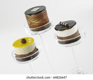 Three deserts in glass dish