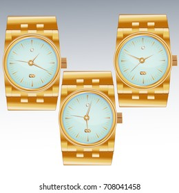 Three dials for wristwatches inlaid with precious stone, diamond, with date, golden arrows.