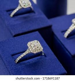 three diamond rings close up