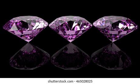 Three diamonds. 3D illustration. 3D CG. High resolution.