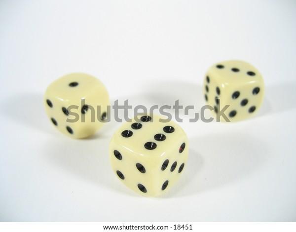 Three dice - six, three and one upside.