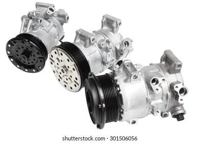Three different air conditioning compressor for different car engines