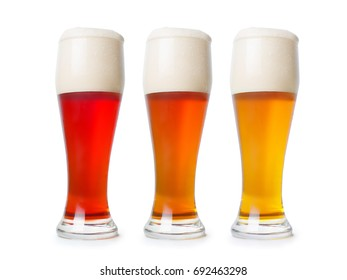 Three different beer pint. Dark, light and red variation. Isolated on white, clipping path included