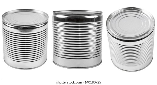 Three different canned food cans isolated on white.