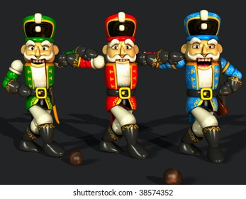 """three different colored nutcrackers are dancing the """"sirtaki"""""""