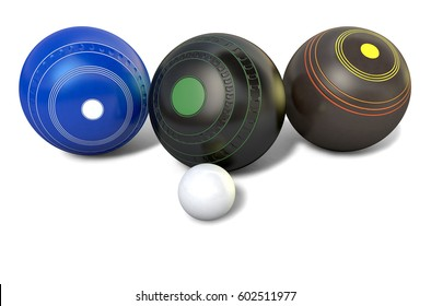 Three different designs of lawn bowling balls surrounding a white jack on an isolated white studio background - 3D render