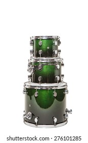 Three different drum green stand on each other