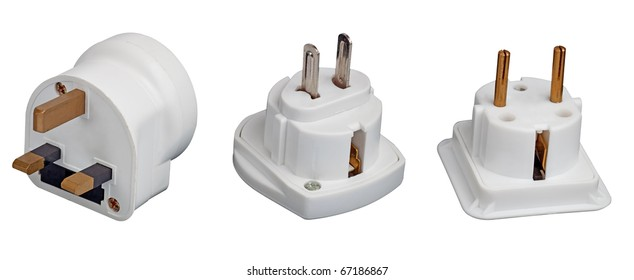 Three different electrical adapters isolated on a white background