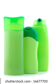 Three different  green beauty and hygiene products.