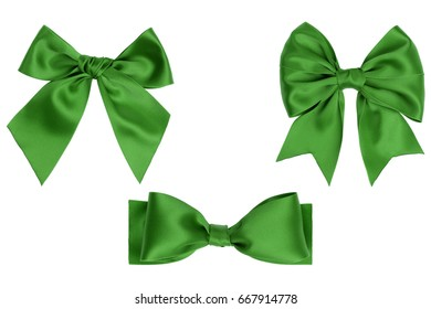 Three different green gift bows isolated on white