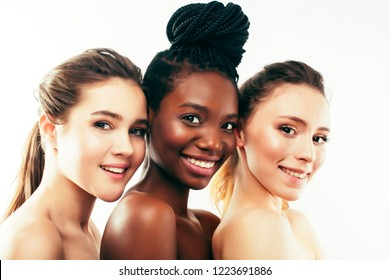 three different nation woman: african-american, caucasian togeth