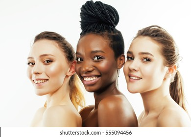 three different nation woman: african-american, caucasian together isolated on white background happy smiling, diverse type on skin, lifestyle people concept