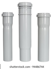 three different PVC fittings - draining straight pipes