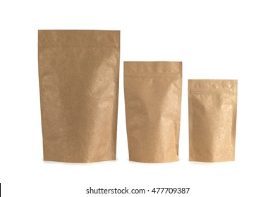 Three  different size packages with zip lock isolated on white background.