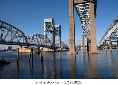 Three different styles of bridges standing over the Thames River in New London, CT