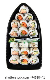 Three Different Varieties Of Japanese Sushi In A Sushi Boat Plastic Take Out Container