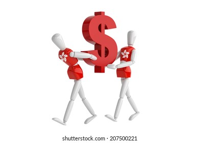 three dimension model render hongkong Dallas currency white man in isolate with clipping path