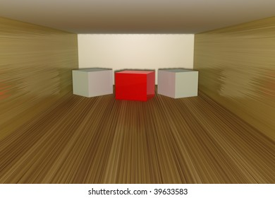 Three dimensional cubes on a wood floor