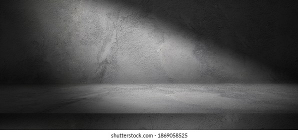 Three dimensional dark room with concrete wall and cement floor, product display background with spot light, stone texture backdrop