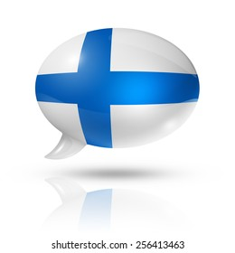 three dimensional Finland flag in a speech bubble isolated on white with clipping path