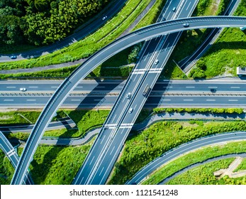 Three - dimensional intersection road. A cityscape with nature.