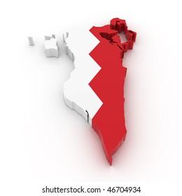 Three dimensional map of Bahrain in Bahrain flag colors.