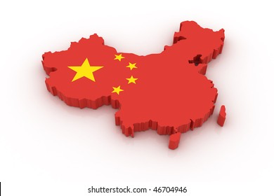 Three dimensional map of China in Chinese flag colors.
