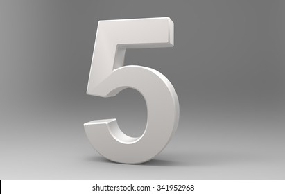 Three dimensional number with material on background with shadows.5