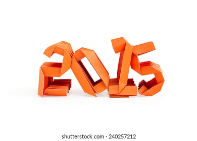 Three dimensional orange origami paper craft number 2015 isolated on white background for Merry Christmas and Happy New Year 2015
