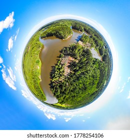 A three dimensional panoramic view of of rapid Ahvionkoski at Kymijoki river, Finland, in a mini planet panorama style.