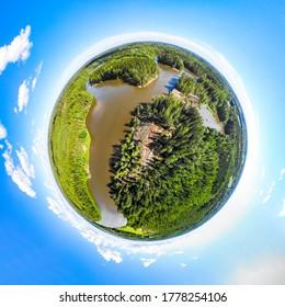 フィンランドのキミホキ川にあるラピッド・アフィオンコスキーの3次元パノラマ画像。ミニ惑星パノラマスタイルです。