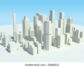A three dimensional rendered city with all of the buildings in white. A clipping path of the sky is included so it can be easily replaced.