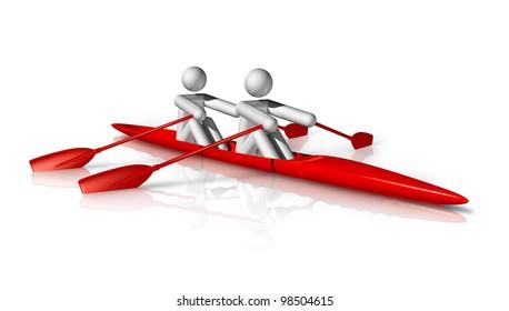 three dimensional rowing symbol, sport series
