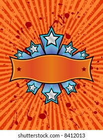 three dimensional silver stars set against a orange striped grunge background. just add your own text.