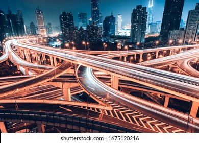 Three dimensional traffic roads and bridges show a very beautiful curve at night.
