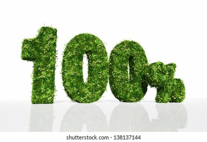 """the three dimensional word """"100%"""" is covered by grass and flowers, on a white background"""