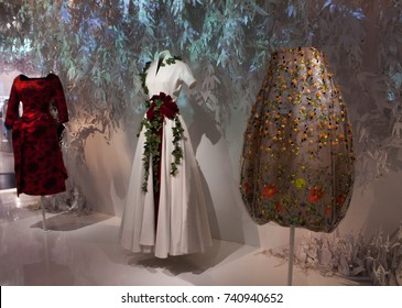 "Three Dior dresses from the exhibition ""Christian Dior, Designer of Dreams"" in Paris, France open until 7th January 2018"