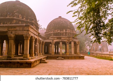 Three domed building in Hauz Khas, New Delhi, India. It is unsual T-shaped building used for assembly room has a long colonnaded hall measuring 24.7x 6.7 m, with an 8m projection from center to west.