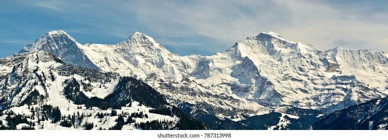 Three dominant peaks of Bernese Alps in Switzerland, Eiger, Monch and Jungfrau