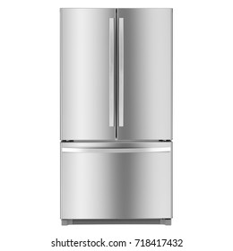 Three Door Refrigerator Isolated on White Background. Front View of Stainless Steel American-Style Fridge Freezer. Domestic and Kitchen Appliances