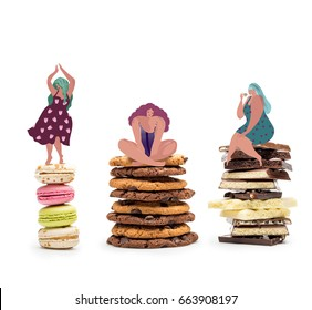 Three drawn fat women on piles of sweets