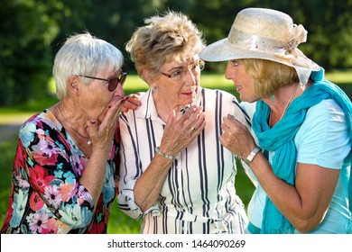 Three elderly women sharing secrets, standing in the park and rumour monger blonde woman with hat is whispering and telling something important to her friends.