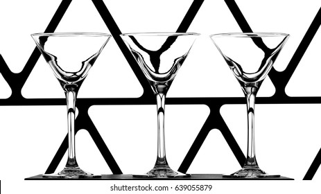 three elegant empty cocktail glasses on abstract black and white background