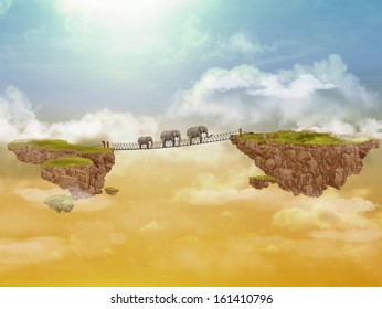 Three elephants on a bridge between rocky islands. Illustration for a card or book cover or magazine. Computer graphics.