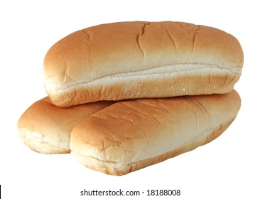 Three empty buns isolated on white background