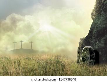 Three Empty Crosses and an Empty Tomb