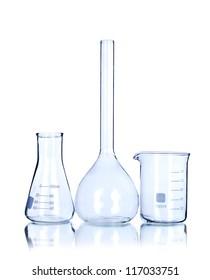 Three empty laboratory glassware isolated on white