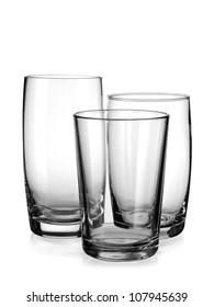 Three empty water glasses