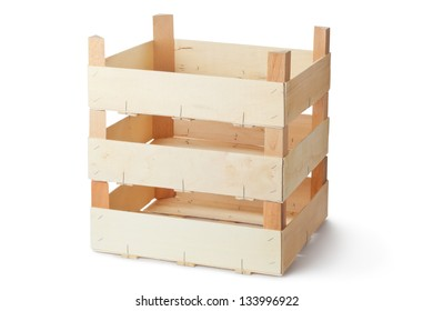 Three empty wooden crates. Isolated on a white.