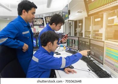 Three Engineering control room checking process.